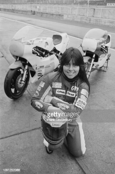 American motorcycle racer Gina Bovaird, the first woman to take part in the Grand Prix motorcycle racing, UK, 2nd April 1980.