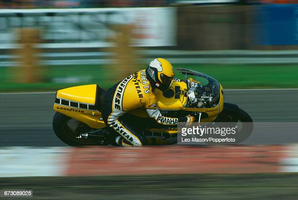 American motorcycle racer Kenny Roberts competes on his Yamaha YZR500 racing bike in the 1980 British Grand Prix during the 1980 Grand Prix season at...