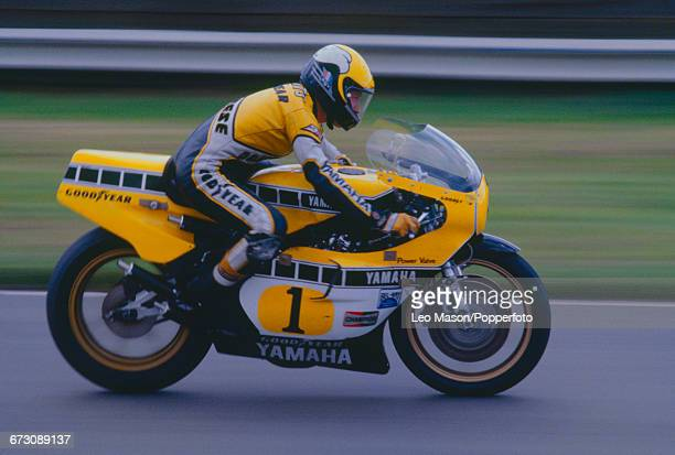 American motorcycle racer Kenny Roberts competes on his Yamaha YZR500 racing bike in the Mallory Park Race of the Year motorcycle race at the Mallory...