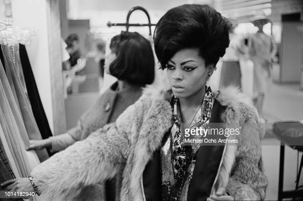American Motown singer Diana Ross of The Supremes out shopping in New York City circa 1965