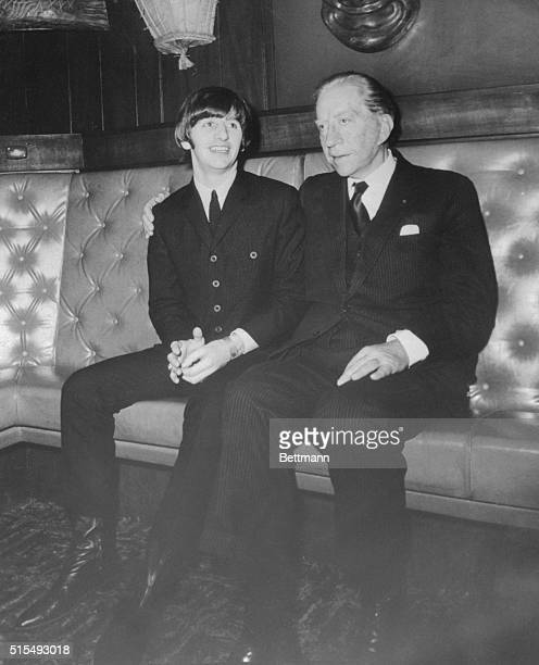American multimillionaire J Paul Getty places an arm protectively about the shoulders of Ringo Starr drummer for the British singing group The...