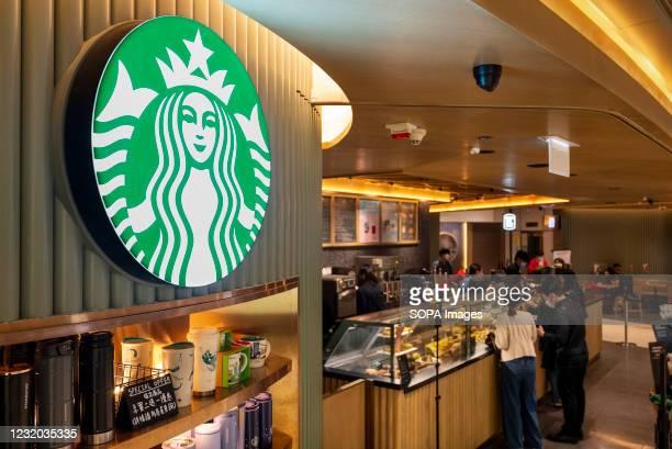 American multinational chain Starbucks Coffee store seen in Hong Kong.