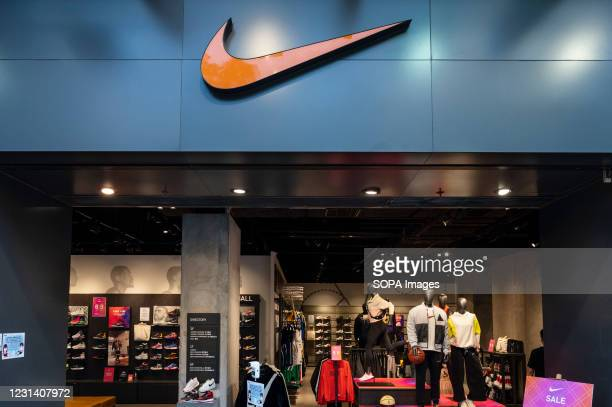 American multinational sport clothing brand, Nike store and its logo seen in Hong Kong.