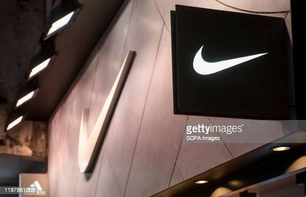 American multinational sport clothing brand Nike store and logo seen in Hong Kong.