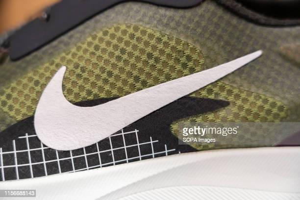 American multinational sportswear manufacturer Nike logo seen on a shoe.