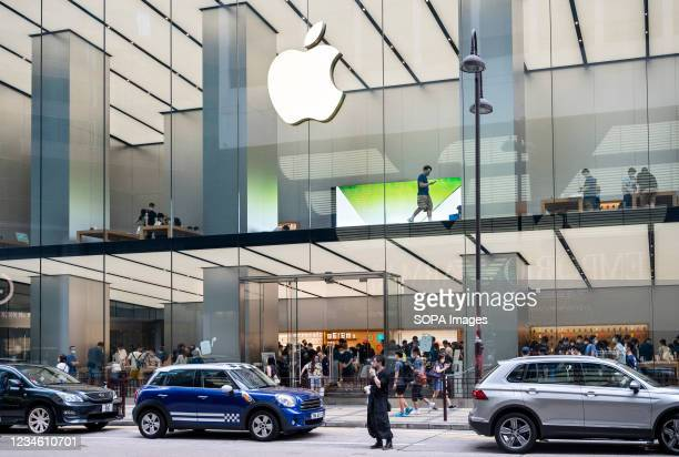 American multinational technology company Apple store seen in Hong Kong.