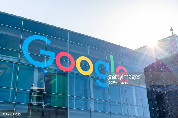 American multinational technology company Google logo seen at Googleplex the corporate headquarters complex of Google and its parent company Alphabet...