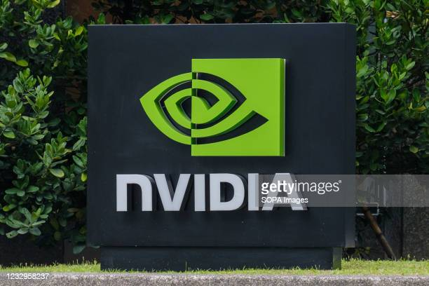 American multinational technology company incorporated in Delaware, Nvidia logo seen in Taipei.