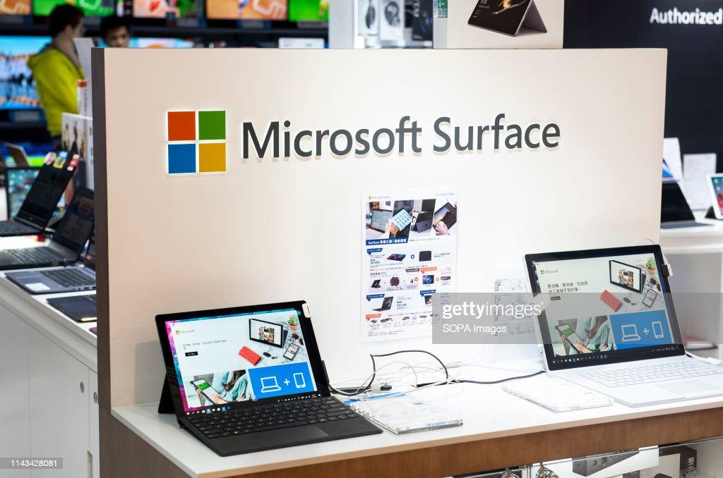 American multinational technology company Microsoft laptops... : News Photo