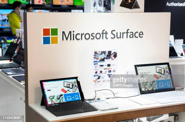 American multinational technology company Microsoft laptops seen in a shopping mall in Hong Kong