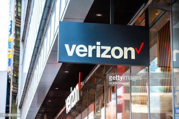 American multinational telecommunications conglomerate Verizon store logo seen in Midtown Manhattan