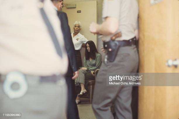 American murderer and member of the Manson Family Susan Atkins sits outside a court room at the Santa Monica Courthouse waiting for her hearing...