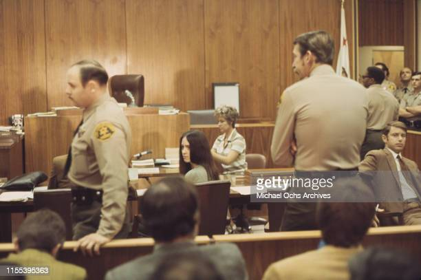 American murderer and member of the Manson Family Susan Atkins sits at the defendant's table at the Santa Monica Courthouse for a hearing regarding...