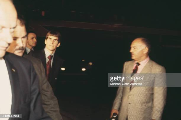 American murderer Charles Tex Watson arriving in Los Angeles to face trial after months of fighting extradition from Texas Los Angeles International...