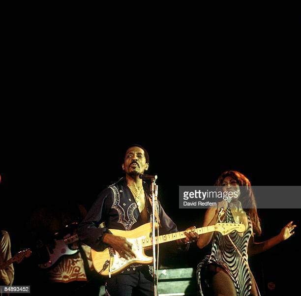 American music duo Tina Turner and Ike Turner on left playing Fender Stratocaster guitar of the Ike Tina Turner Revue perform live on stage at the...