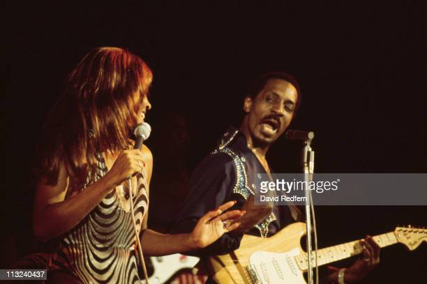 American music duo Tina Turner and Ike Turner on right playing Fender Stratocaster guitar of the Ike Tina Turner Revue perform live on stage at the...