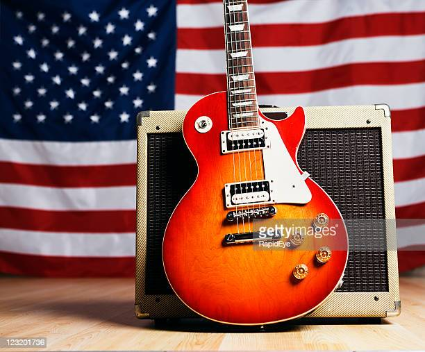 american music: guitar with us flag - countrymusik bildbanksfoton och bilder