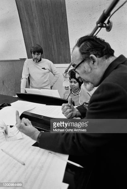 American music producer Jerry Wexler , American singer, songwriter, pianist, and civil rights activist Aretha Franklin , and American recording...