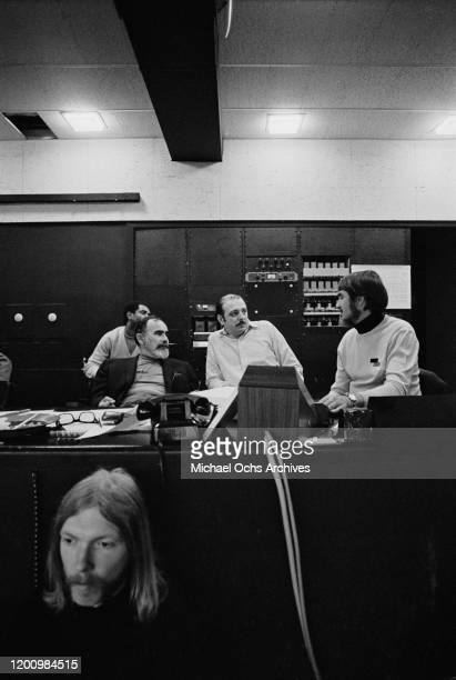 American music producer Jerry Wexler , Turkish-American music producer Arif Mardin , and American recording engineer and producer Tom Dowd with...