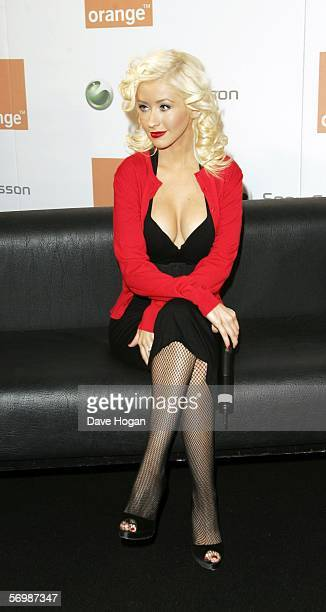 American music star Christina Aguilera launches her new exclusive sponsorship deal with telecommunication giants Sony Ericsson and Orange at the...
