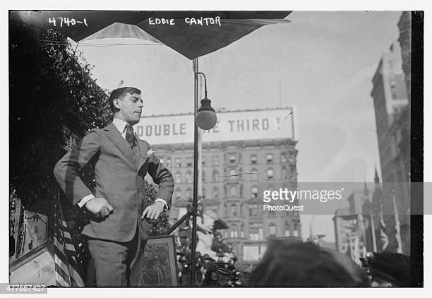 American musical entertainer Eddie Cantor at a World War I bond drive circa 1918