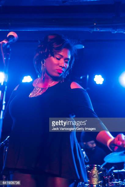 American musican Quiana Parler of the group Ranky Tanky sings as she performs during GlobalFest 2017 on the Studio Stage at Webster Hall New York New...