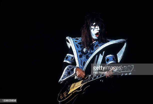 American musician Ace Frehley of the group Kiss performs at the International Ampitheater Chicago Illinois September 22 1979