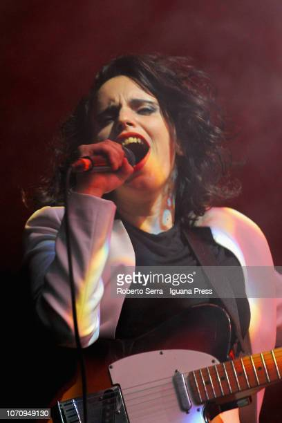 American musician and authoress Anna Calvi performs on stage during the 'Barezzi Festival' at Teatro Regio on November 21 2018 in Parma Italy