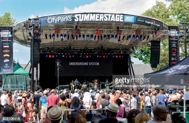 American musician and band leader Domenica Fossati leads her group Underground System during a performance at Central Park SummerStage New York New...