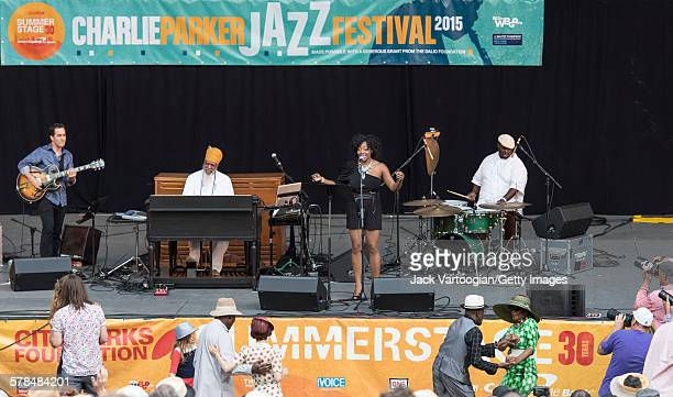 American musician and bandleader Dr Lonnie Smith plays Hammond B3 organ on the second day of the 23rd Annual Charlie Parker Jazz Festival in the...