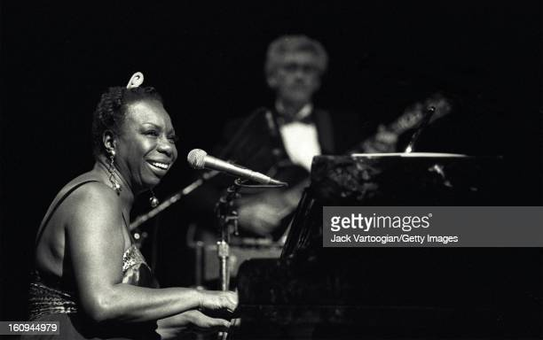 American musician and Civil Rights activist Nina Simone performs at the Beacon Theater New York New York May 1 1993 Guitarist Al Shackman is visible...