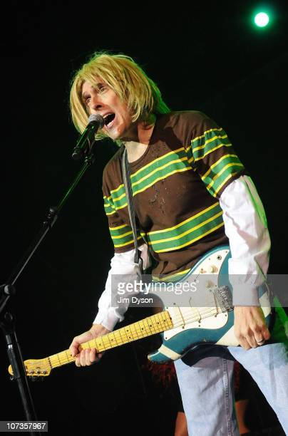 American musician and comedian 'Weird Al' Yankovic performs live on stage as Kurt Cobain of Nirvana at The Kentish Town Forum on December 6 2010 in...