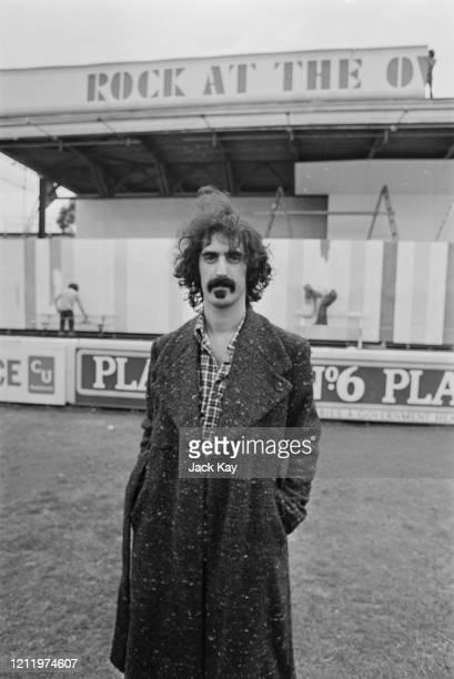 American musician and composer Frank Zappa at the Oval ahead of the 'Rock at the Oval' festival at the cricket ground in Kennington, London, England,...