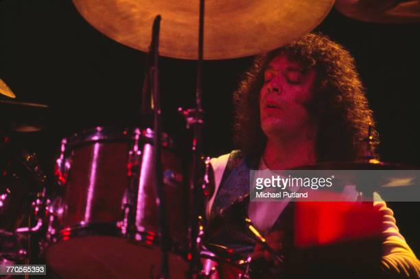 American musician and drummer Bob Siebenberg performs live on stage with Supertramp on tour in the United States in June 1979