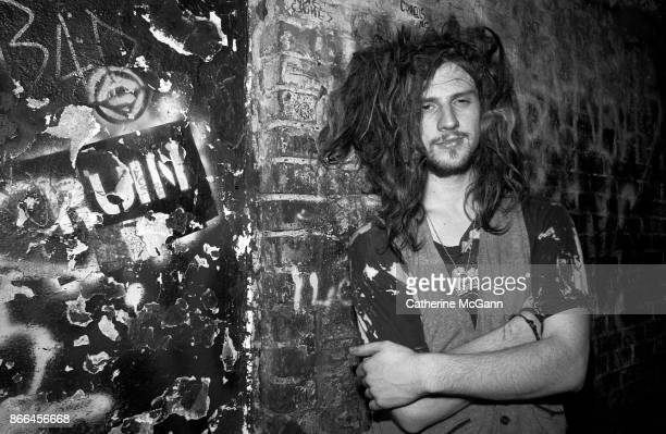 American musician and filmmaker Rob Zombie of the rock band White Zombie poses for a portrait at CBGB's on March 13 1987 in New York City New York