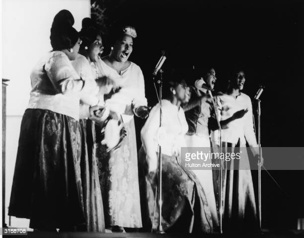 American musician and gospel singer Clara Ward performs with the Ward Singers circa 1960s