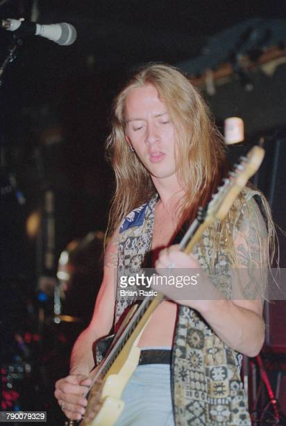 American musician and guitarist Jerry Cantrell performs live on stage with rock group Alice in Chains in London circa 1992