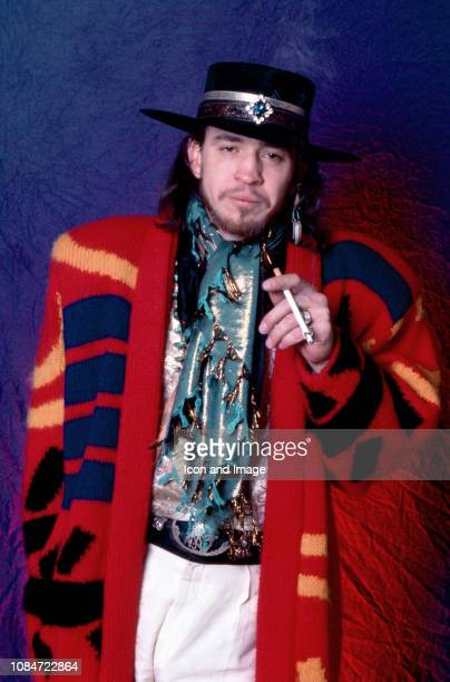 American musician and lead singer Stevie Ray Vaughan of the group Stevie Ray Vaughan and Double Trouble, poses for a studio portrait on September 27,...