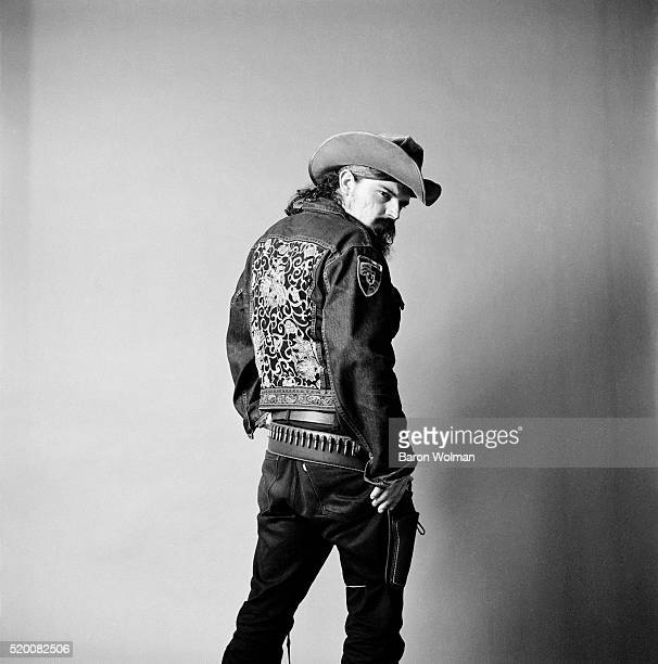American musician and singer Pigpen who was a founding member of the Grateful Dead poses for a portrait at Belvedere St Studio in San Francisco CA...