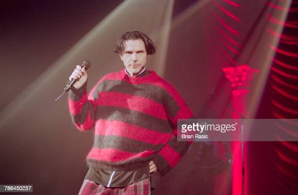American musician and singer Russell Mael performs live on stage with Sparks at the Shepherd's Bush Empire in London on 21st November 1994.