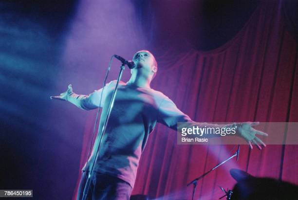 American musician and singer Scott Weiland performs live on stage with rock group Stone Temple Pilots at Brixton Academy in London on 22nd November...