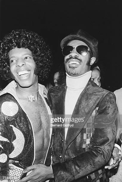 American musician and singer Stevie Wonder with funk musician Sly Stone at Madison Square Garden New York City 25th March 1974