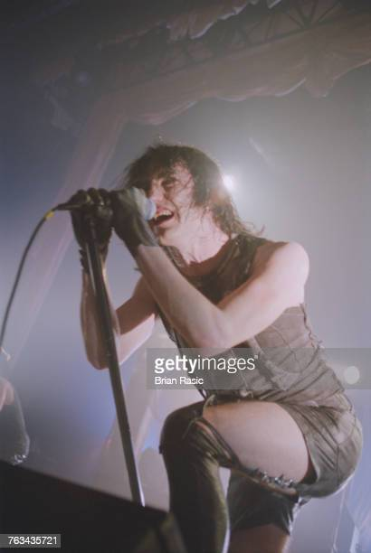 American musician and singer Trent Reznor of American rock band Nine Inch Nails performs live on stage at the Forum in London in May 1994