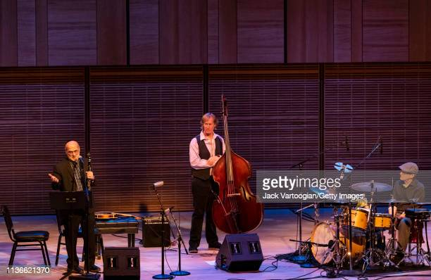 American musician Andy Statman performs Jewish klezmer music on clarinet with his trio with Jim Whitney on upright acoustic bass and Larry Eagle on...