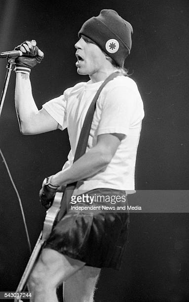 American musician Anthony Kiedis of the Red Hot Chili Peppers performs during the Sunstroke festival concert in Dalymount Dublin Ireland August 25...