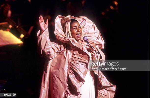American musician Aretha Franklin performs at a JVC Jazz Festival concert at Avery Fisher Hall Lincoln Center New York New York June 24 2000