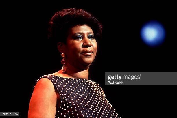 American musician Aretha Franklin performs on stage at the Chicago Theater Chicago Illinois December 15 1986