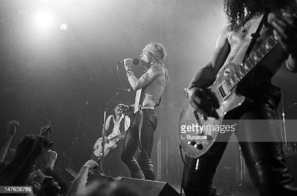 American musician Axl Rose of the group Guns 'n' Roses performs in concert at the Ritz New York New York February 2 1988