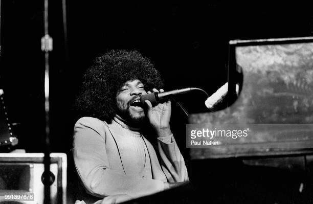 American musician Billy Preston performs on stage at the Ivanhoe Theater in Chicago, Illinois, February 19, 1977.