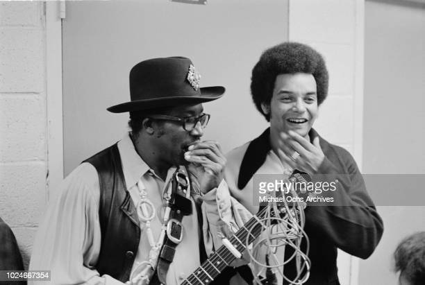 American musician Bo Diddley backstage at Madison Square Garden in New York City during the concert movie 'Let the Good Times Roll' 1972